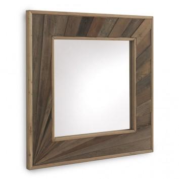 Espejo con marco de abeto reciclado vintage 88x88cm