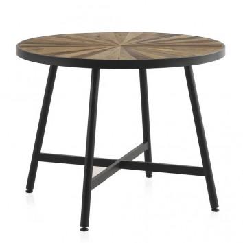 Mesa de comedor redonda hierro y abeto reciclado vintage 100x76h