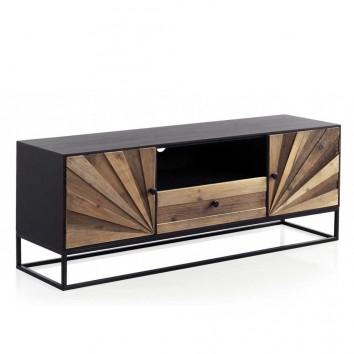 Mueble de televisión abeto reciclado vintage y patas de hierro 140x40x53h