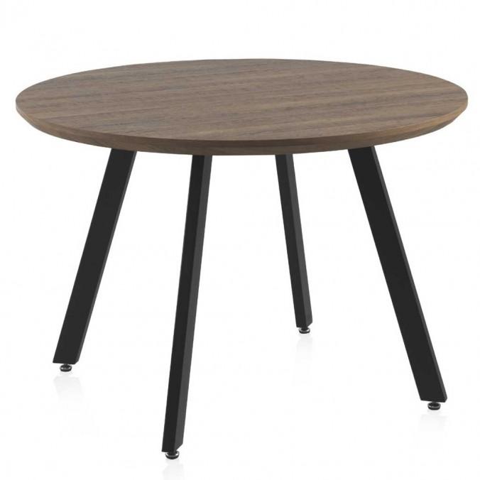 Mesa de comedor redonda estilo industrial mdf tono roble y hierro 110x76h