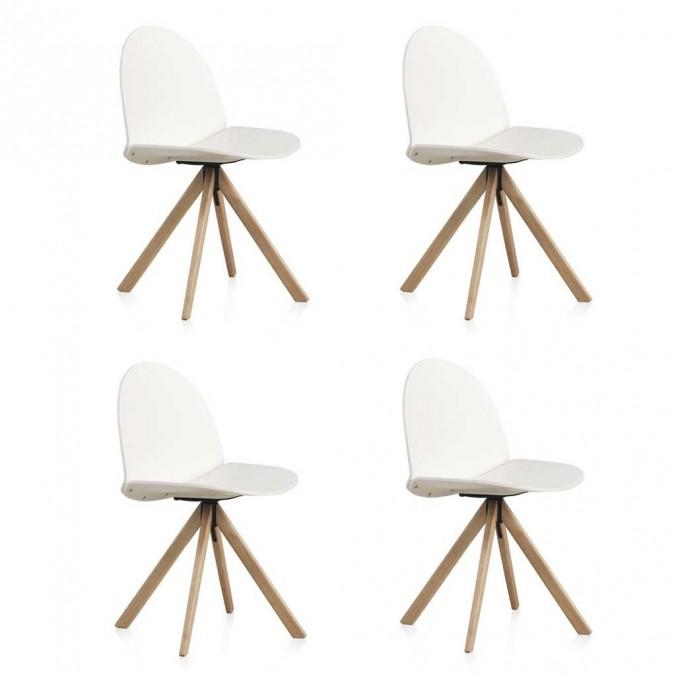 Pack 4 sillas giratorias de diseño estilo nórdico 52x49x82h