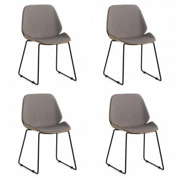 Pack 4 sillas de diseño estilo mid century asiento tapizado 51x54x82h