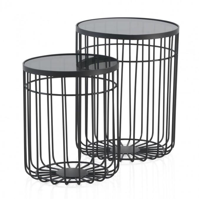 Set 2 mesas auxiliares 40 y 35cm superficie cristal