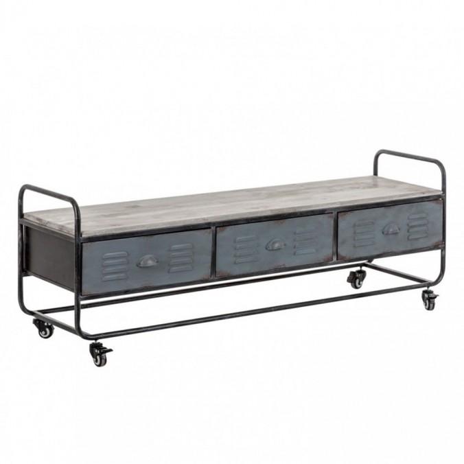 Mueble TV 150cm hierro y tapa de abeto