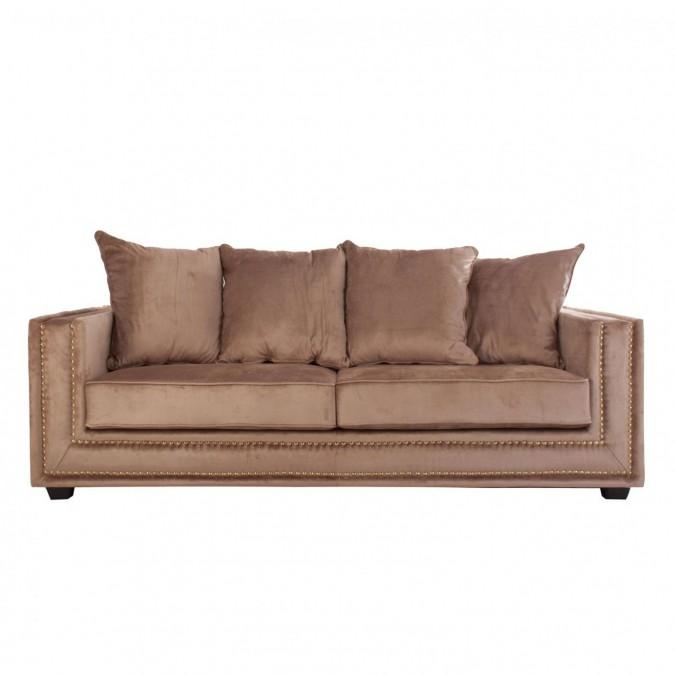 Sofá 3 plazas 227cm tejido marrón dorado