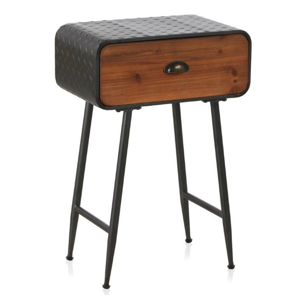 Mesita vintage 50x30cm hierro y madera de pino erizho for Mesillas de noche 30 cm