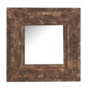 Espejo 60x60cm marco metal óxido cenefa