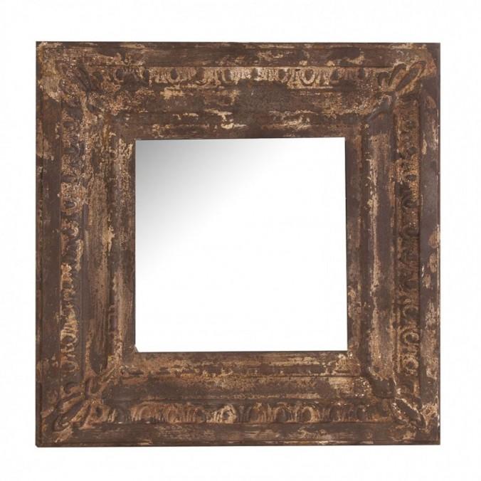 Espejo 60x60cm marco metal óxido