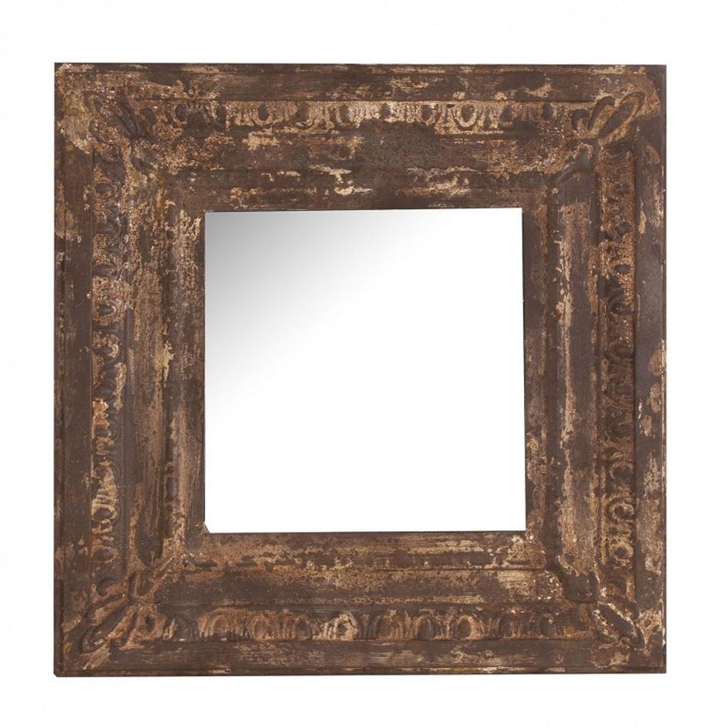 Espejo 60x60cm marco metal xido cenefa erizho - Cenefas para espejos ...