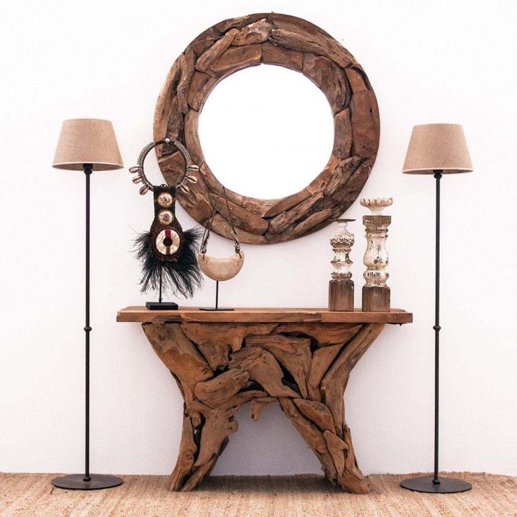 Espejo redondo 100cm marco de madera teka - Erizho
