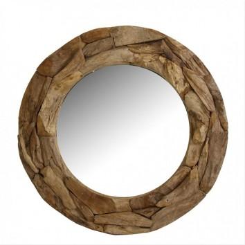 Espejo redondo 100cm marco de madera teka