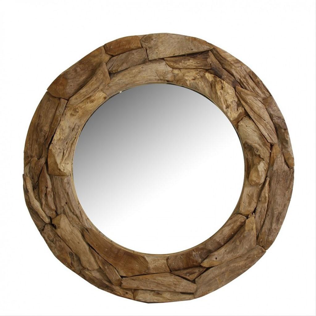 espejo redondo 100cm marco de madera teka erizho On espejos redondos de madera