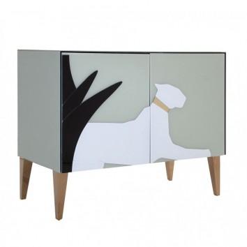 Buffet 90cm estilo Art déco en vidrio pantera izquierda