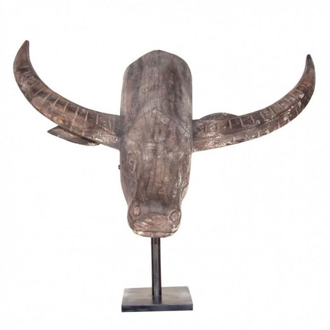 Talla de busto de toro 80cm madera de acacia