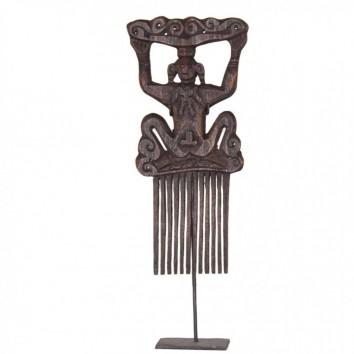 Figura étnica peineta 32cm talla madera de acacia