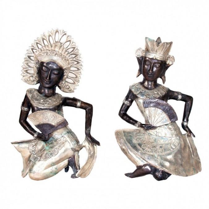 Juego 2 esculturas 56cm estilo oriental bronce y hierro