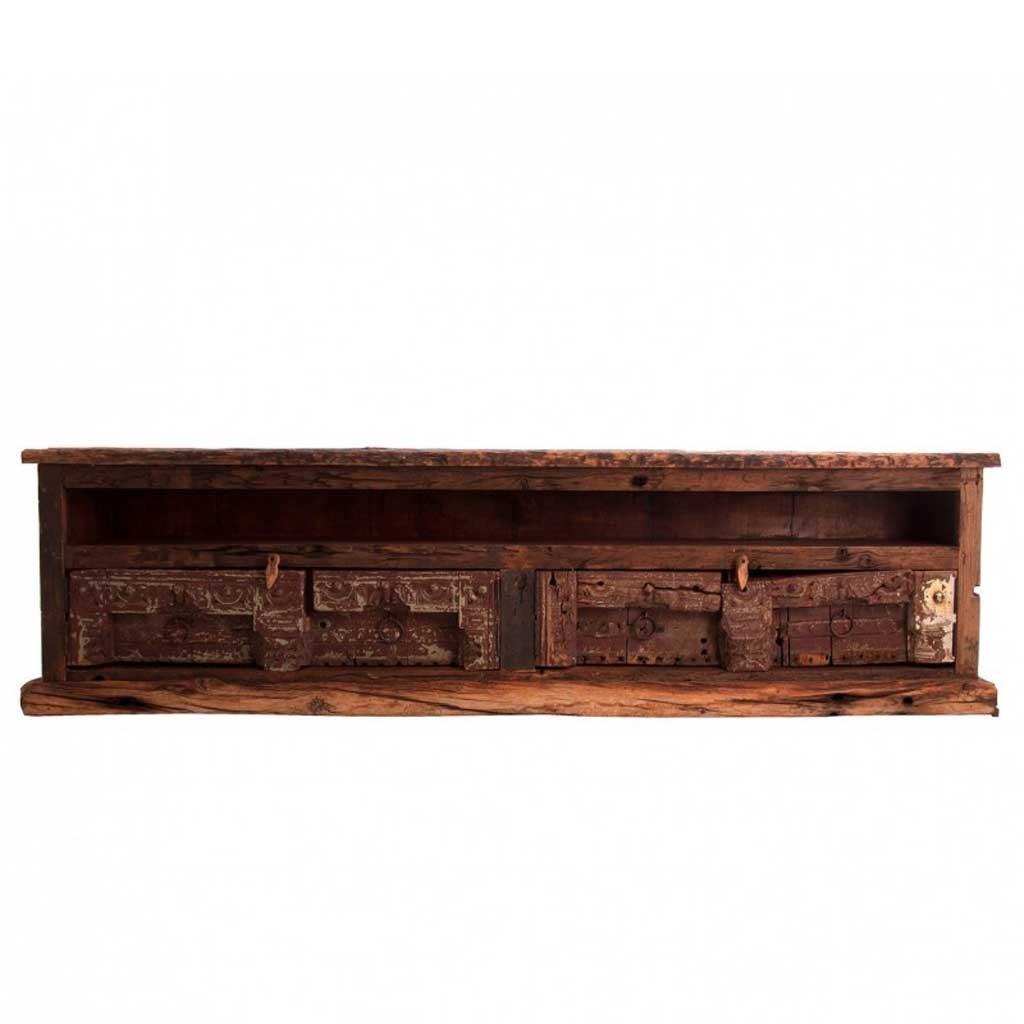 Mueble tv madera antigua estilo oriental 219cm erizho for Estilos de muebles de madera