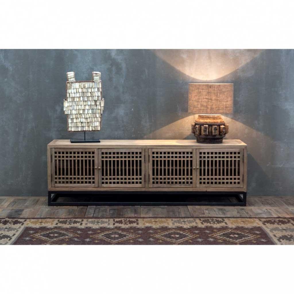 Mueble tv estilo japon s 200cm madera de olmo erizho - Muebles de estilo oriental ...