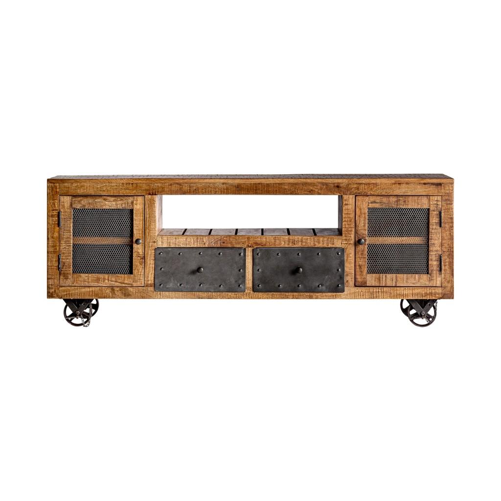Mueble tv estilo industrial 170cm madera de mango erizho - Mueble estilo industrial ...