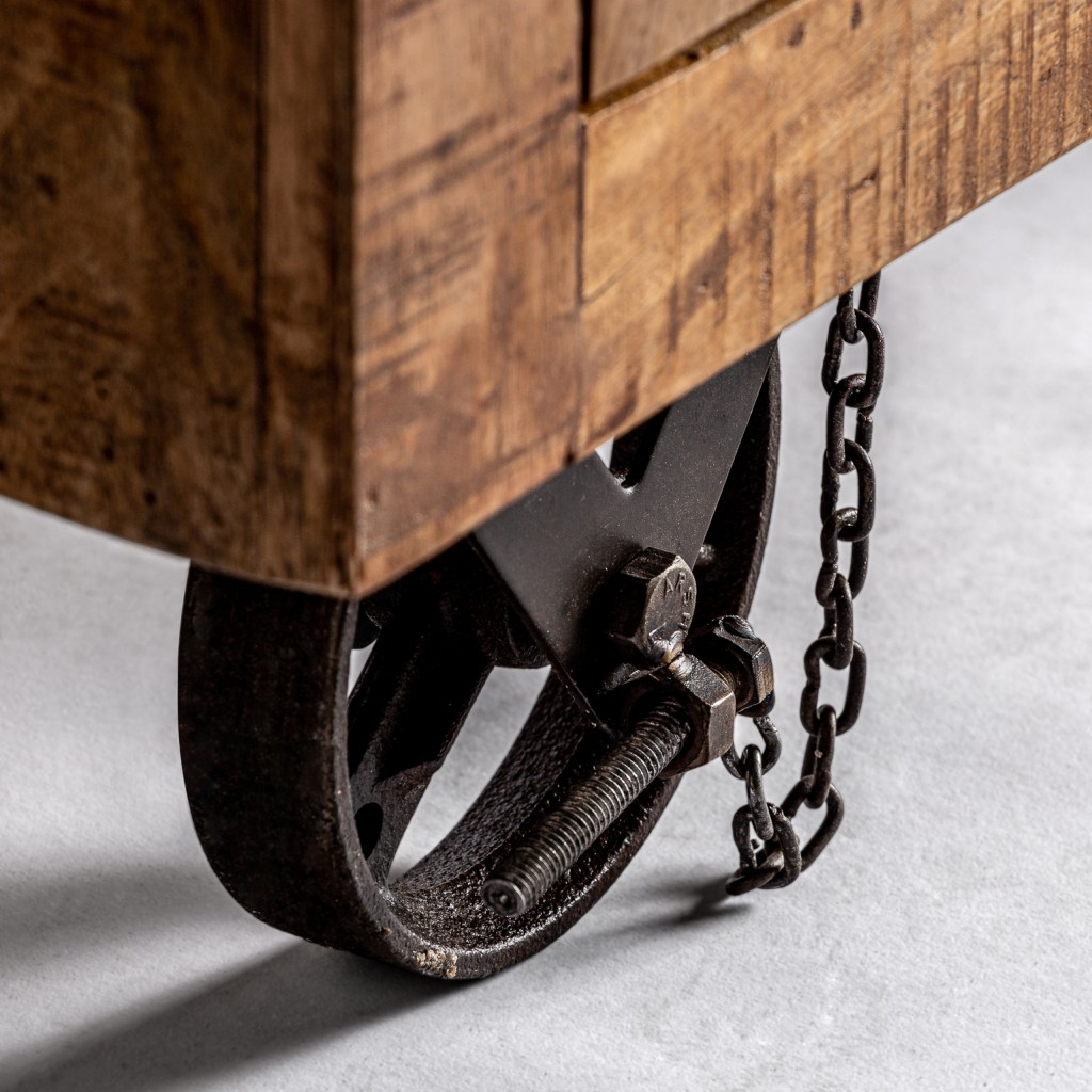 Mueble tv estilo industrial 170cm madera de mango erizho for Muebles reciclados para un estilo industrial