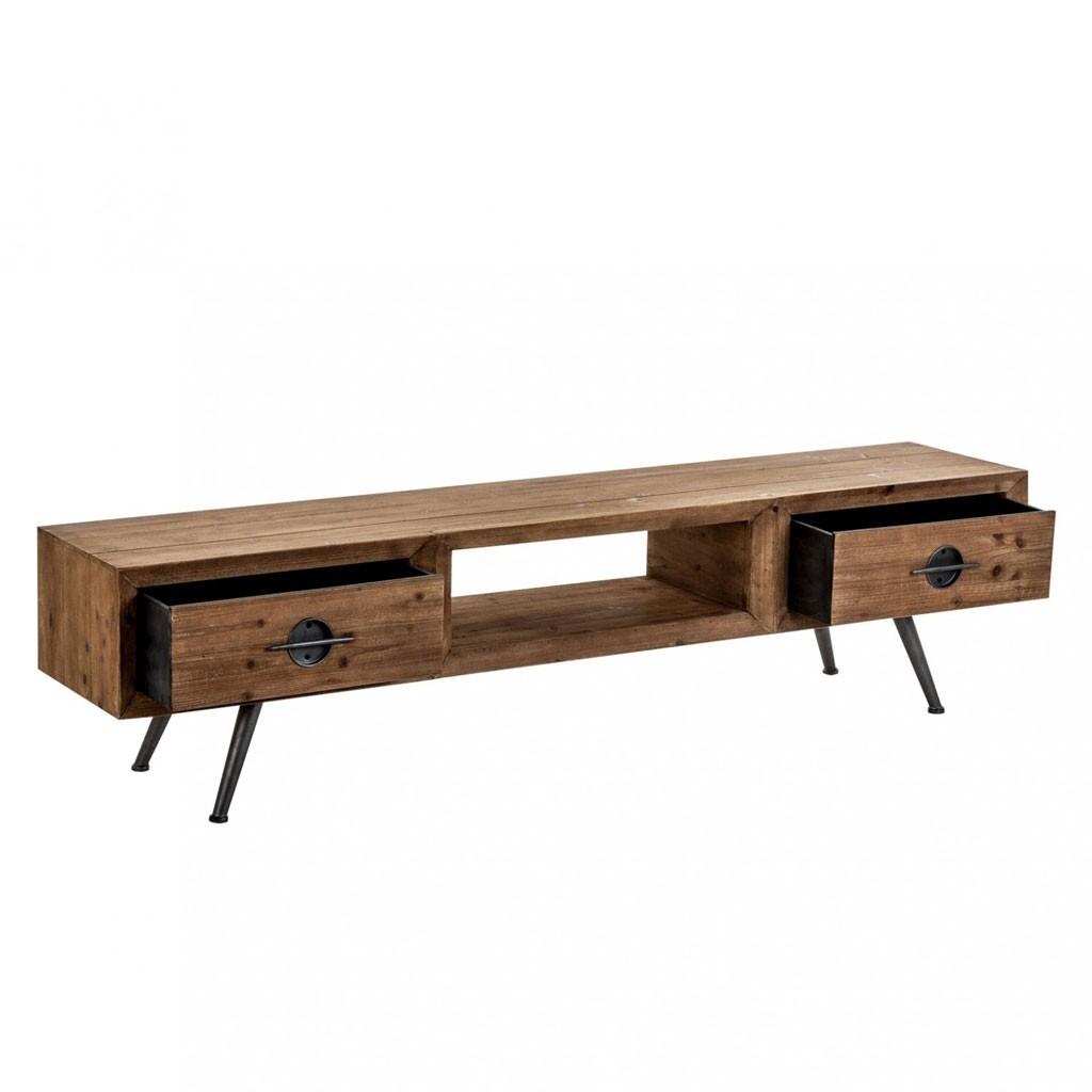 Mueble tv de estilo r stico 180cm madera y hierro erizho for Mueble hierro y madera