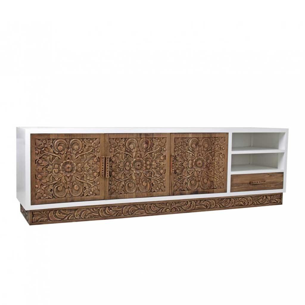 Mueble tv dise o 200cm madera mindi tallada erizho for Diseno de muebles para herramientas