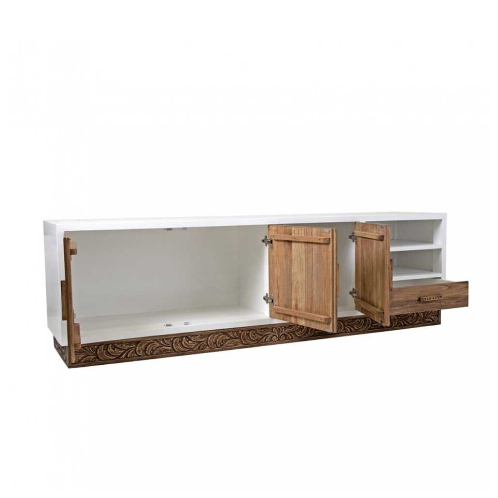 Mueble tv dise o 200cm madera mindi tallada erizho - Muebles diseno outlet ...