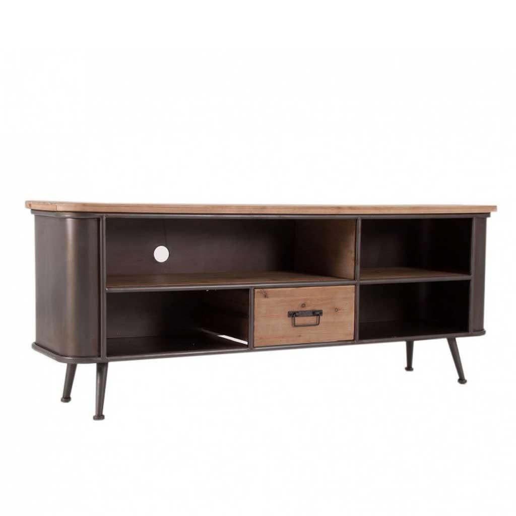 Mueble tv de estilo vintage 150cm madera y hierro erizho for Muebles estilo vintage online