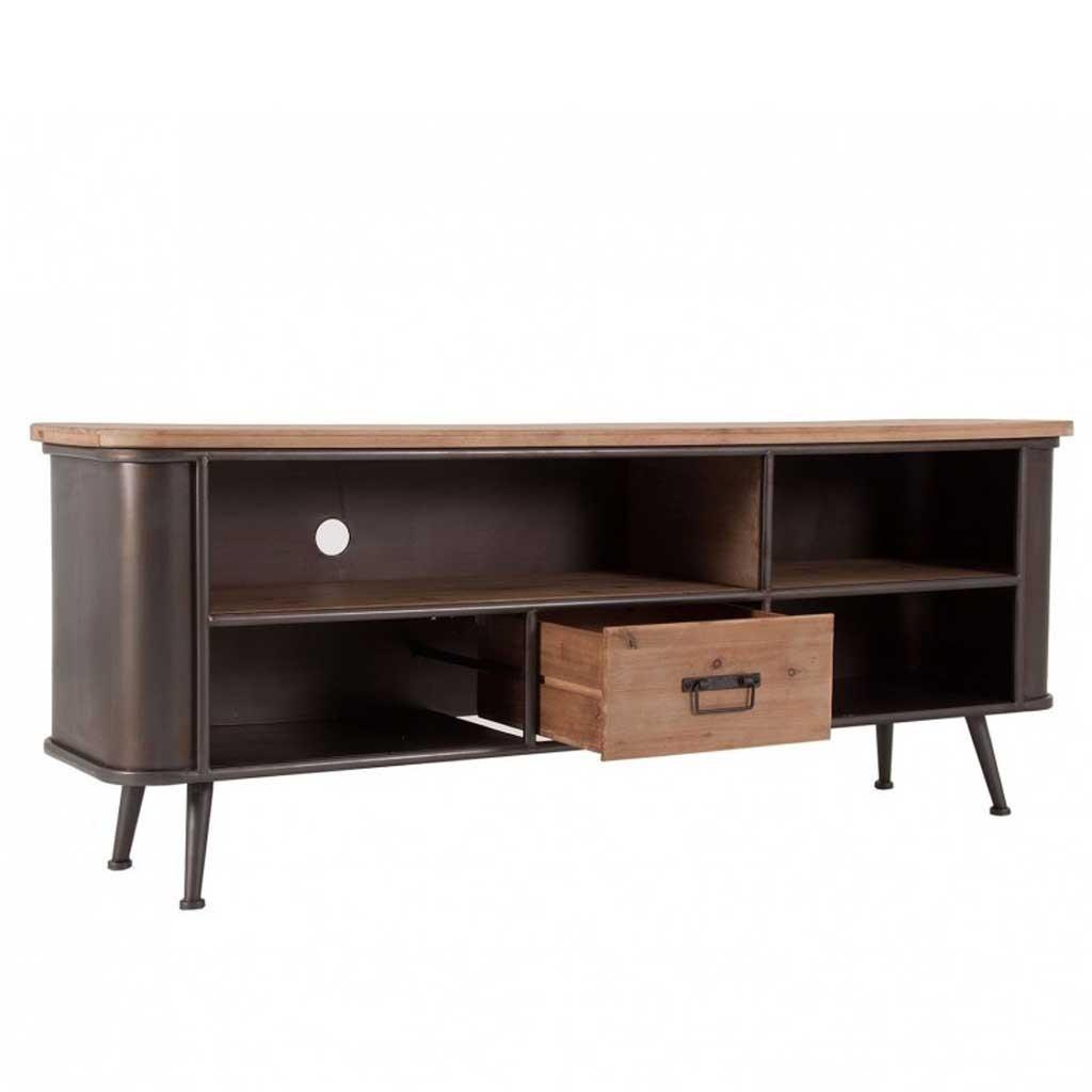 Mueble tv de estilo vintage 150cm madera y hierro erizho for Muebles de hierro y madera