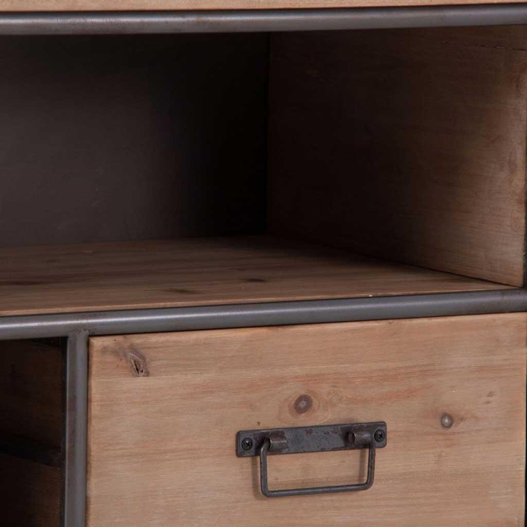 Mueble tv de estilo vintage 150cm madera y hierro erizho for Mueble tv vintage