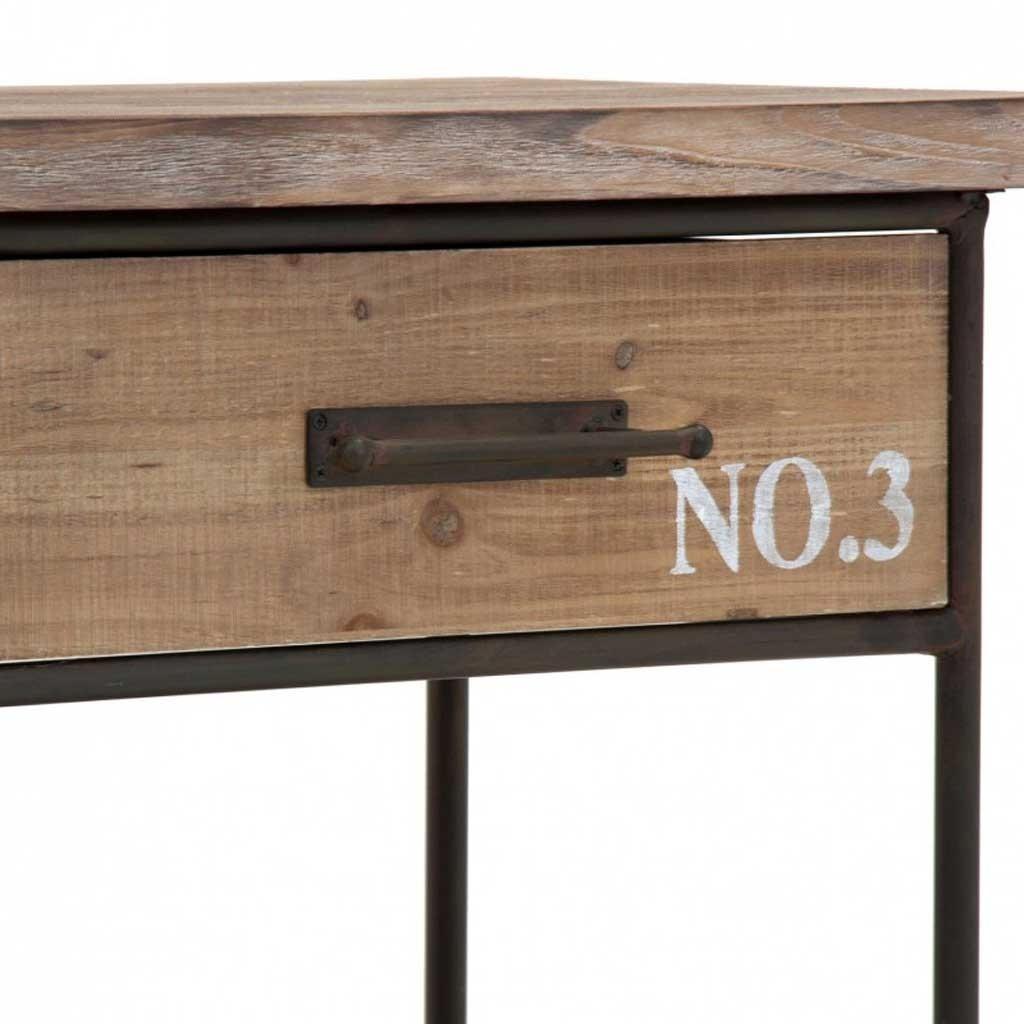 Mueble vintage con ruedas 160cm madera y hierro erizho for Muebles industriales madera y hierro