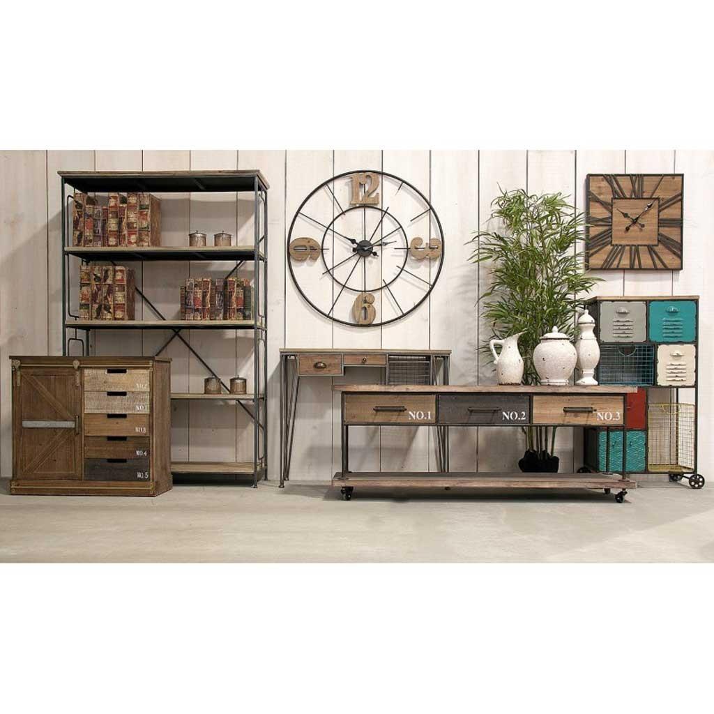 Mueble vintage con ruedas 160cm madera y hierro - Erizho