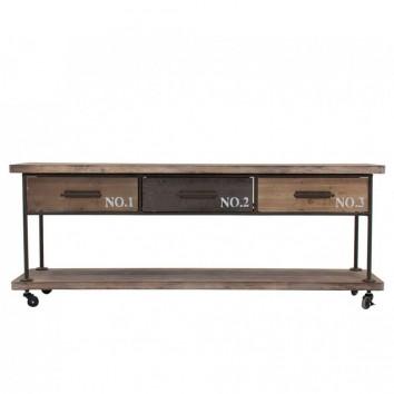 Mueble vintage con ruedas 160cm madera y hierro
