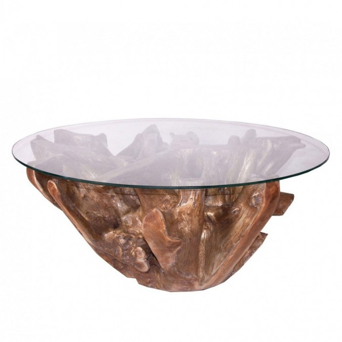 Mesa baja de centro redonda 102cm teka y cristal