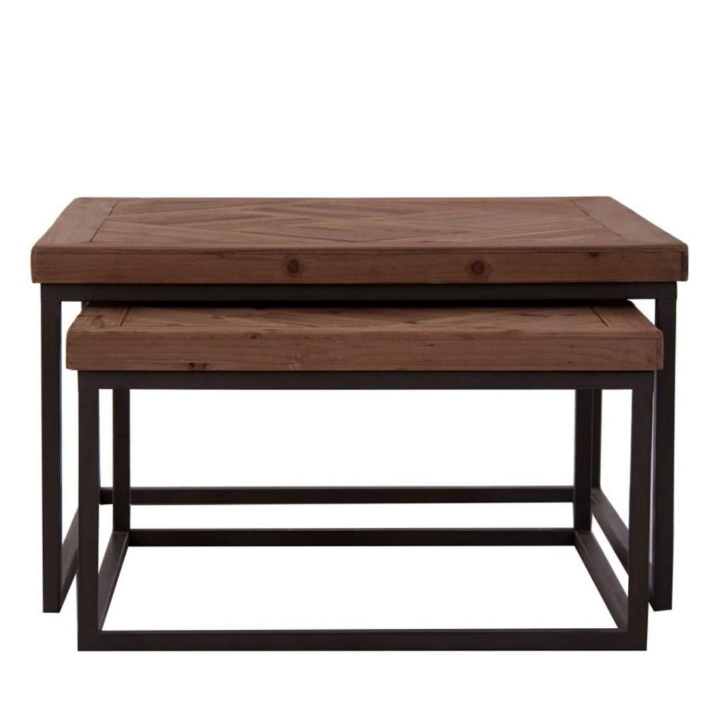 Juego 2 mesas de centro nido 70x70cm madera erizho - Mesa de centro de madera ...
