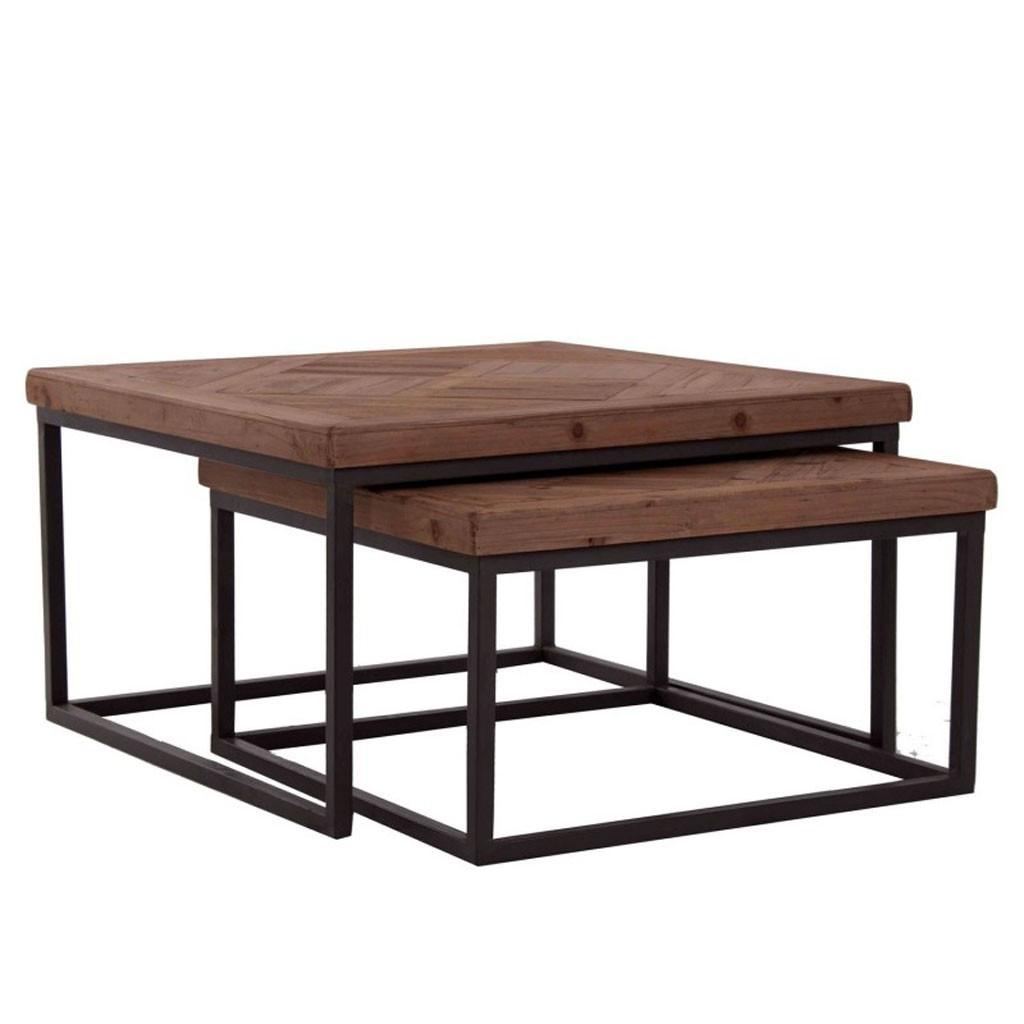 Juego 2 mesas de centro nido 70x70cm madera erizho - Mesas de centro de madera ...
