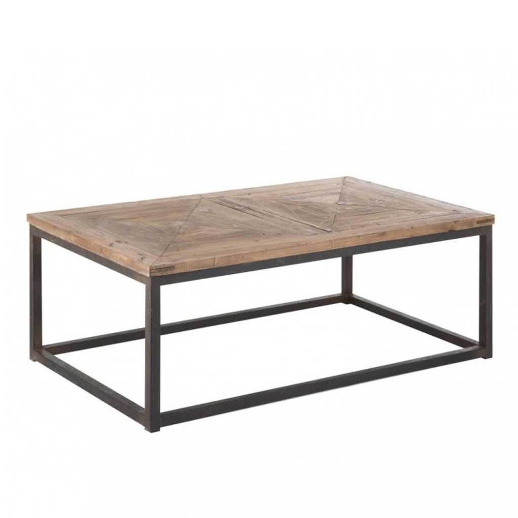 Mesa baja estilo industrial 120x70cm madera y hierro erizho for Mesas de hierro forjado y madera