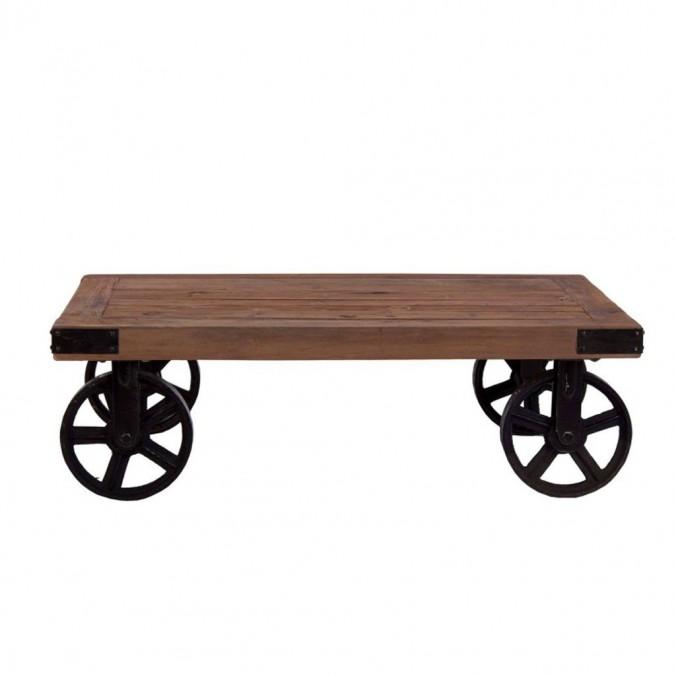 Mesa baja industrial ruedas 110x71cm madera y hierro