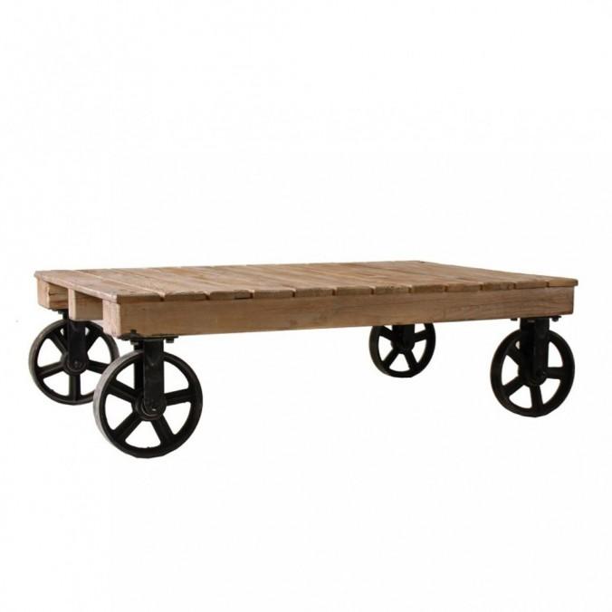 Mesa baja industrial ruedas 129x80cm madera y hierro