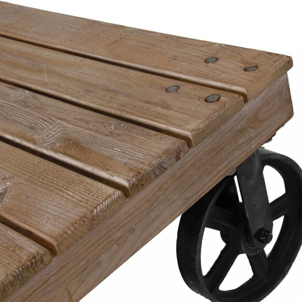 Mesa baja industrial ruedas 129x80cm madera y hierro erizho - Mesa centro madera y hierro ...