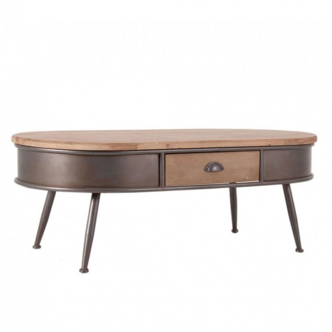 Mesa de centro vintage 123x62cm con cajón