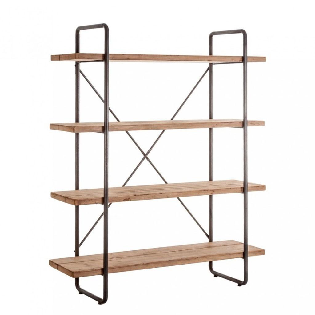 Estanteria estilo industrial 160x191cm hierro y madera for Libreria estilo industrial