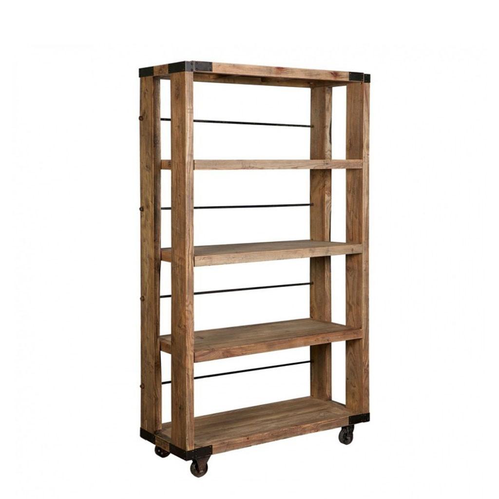 Estanteria estilo industrial 115x206cm madera olmo erizho - Estanterias madera ...