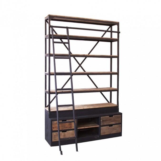 Librería retro con escalera y cajones 160x245cm