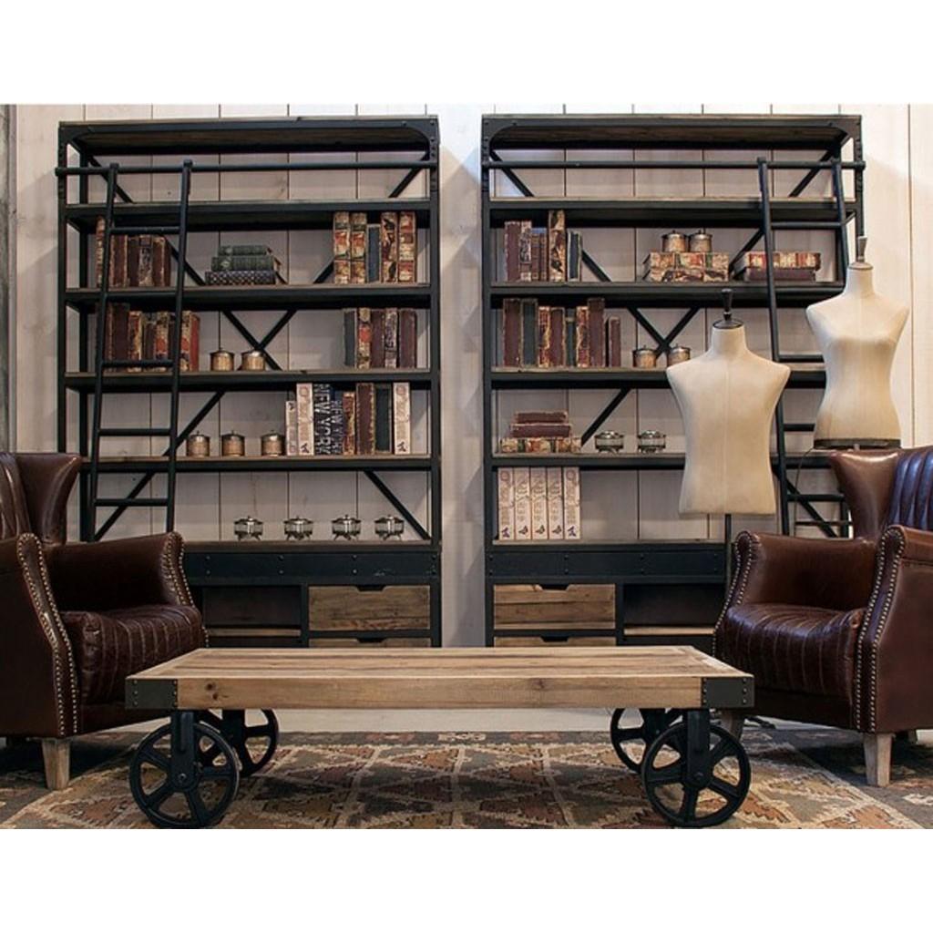 Librer a retro con escalera y cajones 160x245cm erizho - Librerias con escalera ...