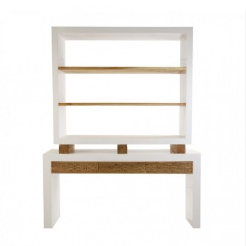 Librería diseño étnico 160x210cm madera tallada