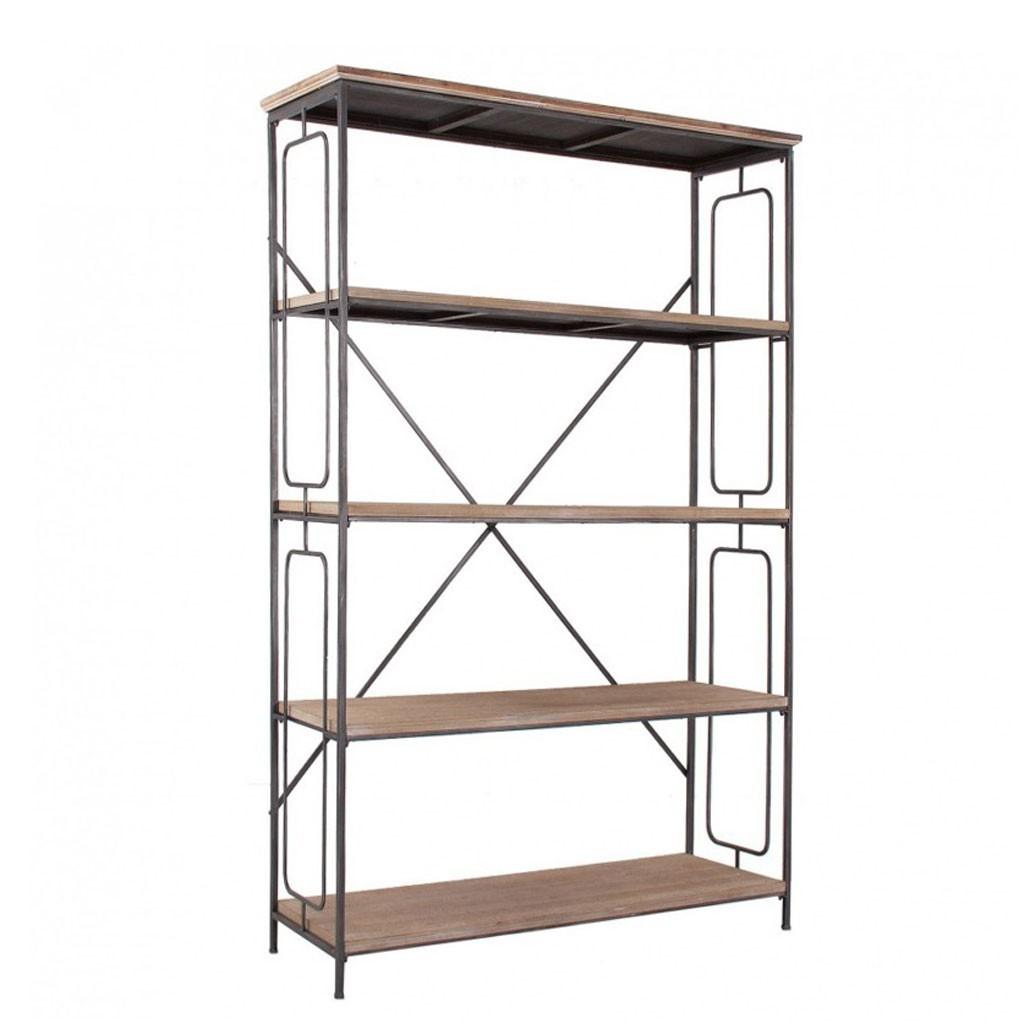 Estanter a estilo industrial 119x186cm hierro y madera for Estanteria estilo industrial