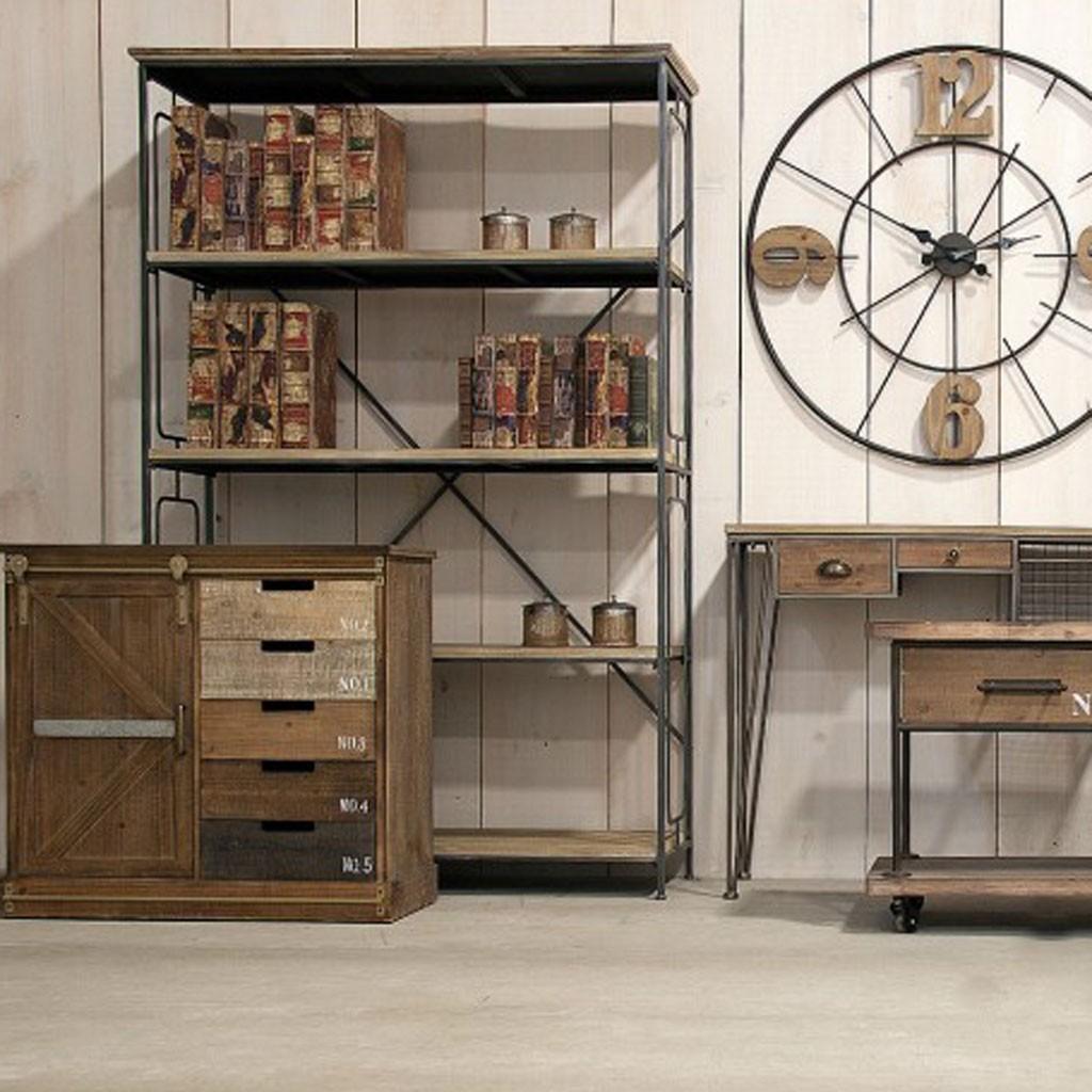 Estanter a estilo industrial 119x186cm hierro y madera for Libreria estilo industrial