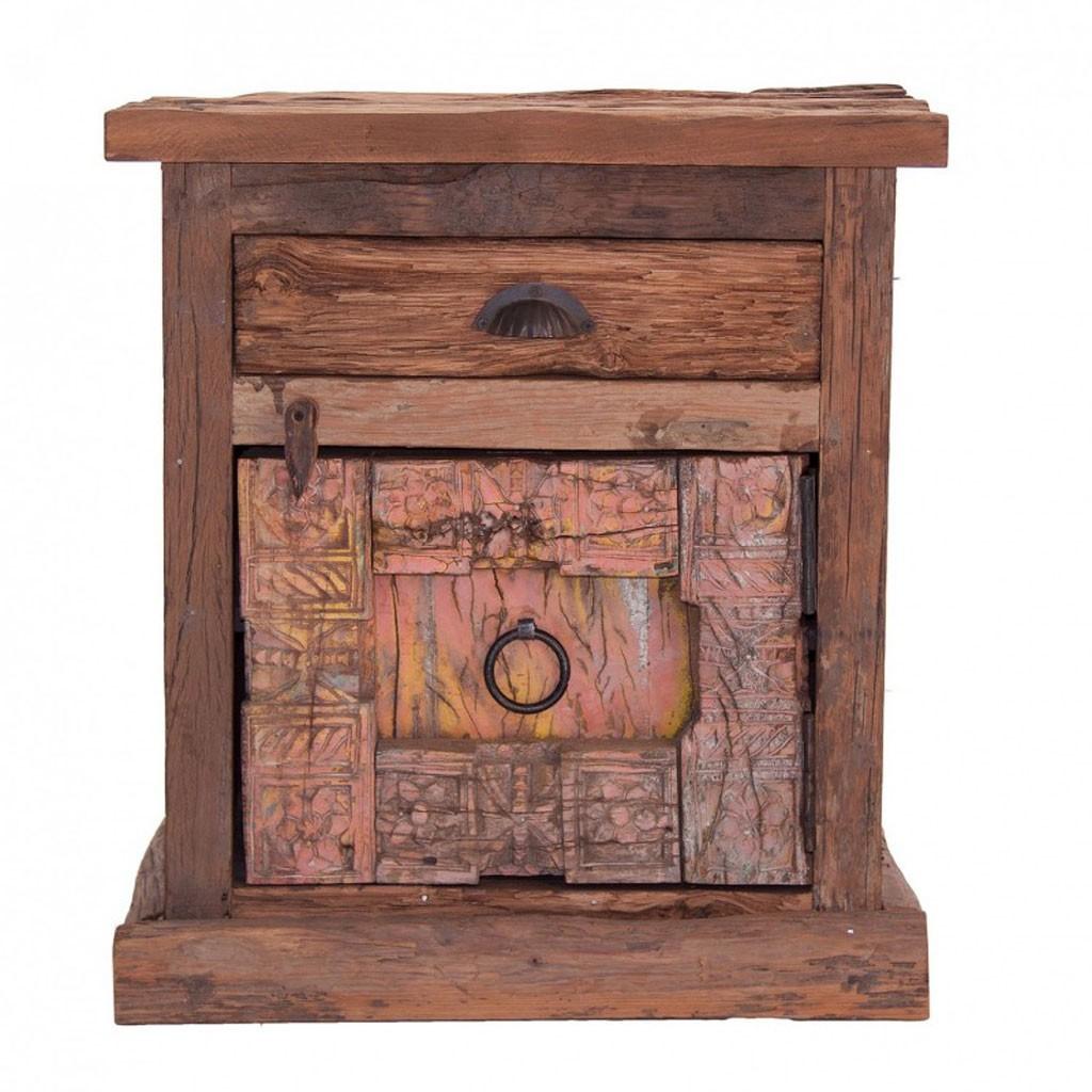 Mesilla de noche 60cm madera antigua erizho for Mesillas de noche 30 cm