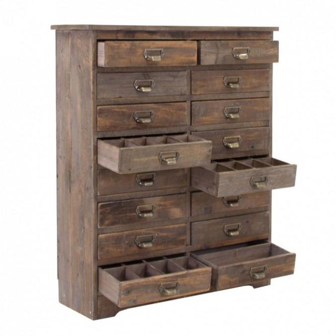 Cajonera 80x98cm estilo vintage en madera abeto erizho - Cajoneras estilo vintage ...
